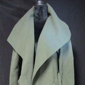 boohoo belted shawl collar coat khaki